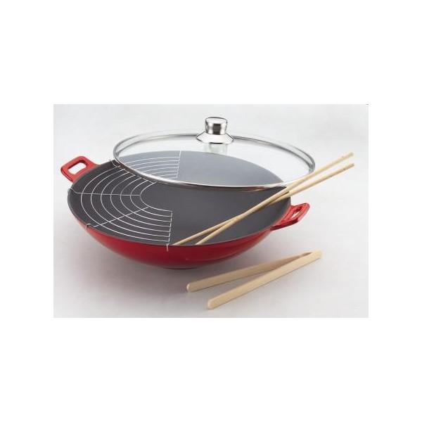 wok fonte maill e rouge 36 cm baumalu. Black Bedroom Furniture Sets. Home Design Ideas